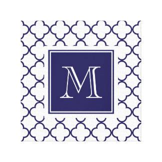 Bleu marine, Quatrefoil blanc | votre monogramme Toiles