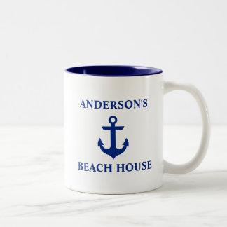 Bleu nautique d'ancre de Chambre de plage de nom Tasse 2 Couleurs