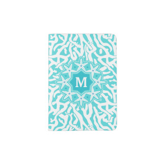 Bleu nautique d'Aqua du monogramme | d'étoiles de Protège-passeport