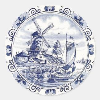 Bleu néerlandais vintage mignon de Delft de Sticker Rond