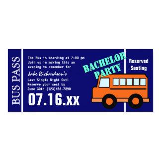 Bleu orange de passage d'autobus de célibataire carton d'invitation  10,16 cm x 23,49 cm
