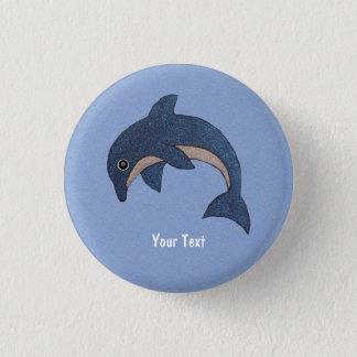 Bleu profond mignon étincelant le dauphin sautant badge rond 2,50 cm