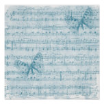 Bleu Romance musical de papillon Affiche