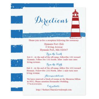 Bleu rouge nautique de phare de directions de carton d'invitation  12,7 cm x 17,78 cm