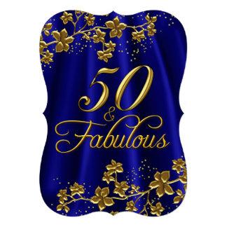 Bleu royal 50 d'or floral et anniversaire fabuleux carton d'invitation  12,7 cm x 17,78 cm