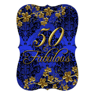 Bleu royal 50 et 2 fabuleux d'or floral carton d'invitation  12,7 cm x 17,78 cm