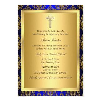 Bleu royal et invitation de baptême de croix de