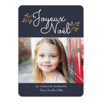 Bleu simple du carte photo | de Noël de Carton D'invitation 12,7 Cm X 17,78 Cm