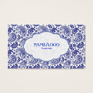 Bleu sur rétro Paisley blanc PatternDesign Cartes De Visite