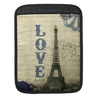 Bleu vintage de Paris | Poches Pour iPad