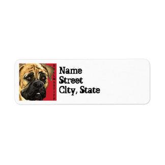 Bloc de couleur de Bullmastiff Étiquette D'adresse Retour