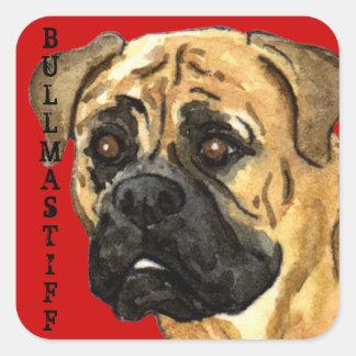 Bloc de couleur de Bullmastiff Sticker Carré