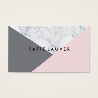 Bloc gris rose de marbre blanc moderne de couleur carte de visite standard
