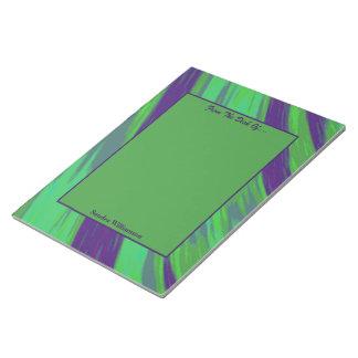 Bloc-note Abrégé sur vert-bleu bruissement de couleur