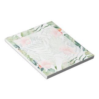 Bloc-note Aquarelle florale de ketmie tropicale de feuille
