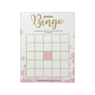 Bloc-note Bingo-test nuptiale floral rose