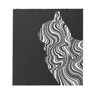 Bloc-note Black and White Cat Swirl abstrait monochrome