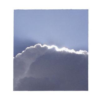 Bloc-note Bloc - notes avec la photo du nuage avec le côté