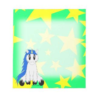 Bloc-note Bloc - notes délabré mignon de licorne (bleu)