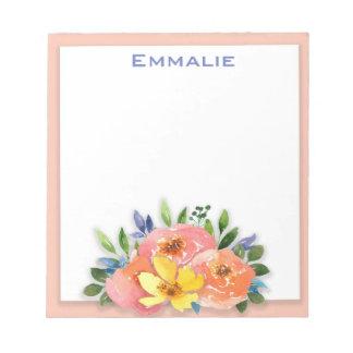 Bloc-note Bloc - notes floral blanc jaune rose personnalisé