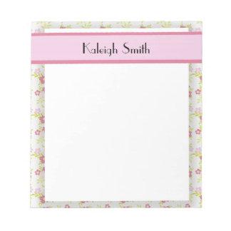 Bloc-note Bloc - notes floral et blanc rose personnalisé