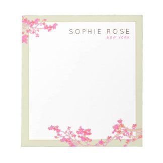 Bloc-note Bloc - notes personnalisé floral rose élégant