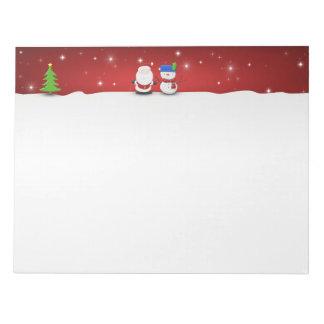 Bloc-note Bonhomme de neige de Joyeux Noël et Père Noël -