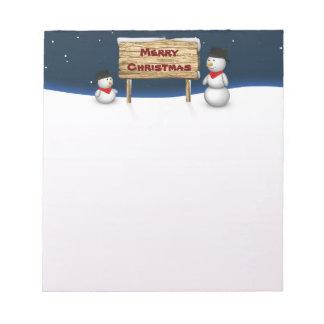 Bloc-note Bonhommes de neige mignons avec le signe de Noël -