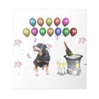 Bloc-note Bonne année de chien de rottweiler