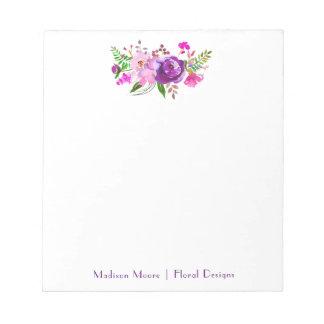 Bloc-note Bouquet floral d'aquarelle pourpre