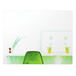 Bloc-note Chaise verte d'artiste d'aquarelle du bureau de