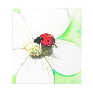 Bloc-note Coccinelle sur la fleur blanche
