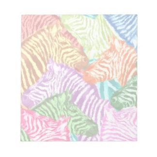 Bloc-note Collage coloré de troupeau de zèbre