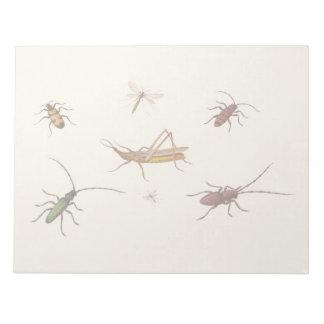 Bloc-note Conception vintage avec sept insectes différents