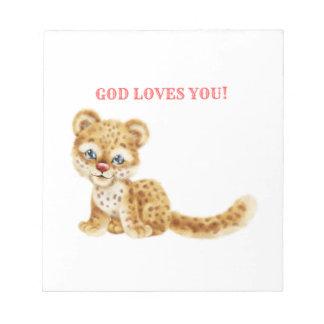 Bloc-note Dieu vous aime bébé sauvage de guépard de jungle