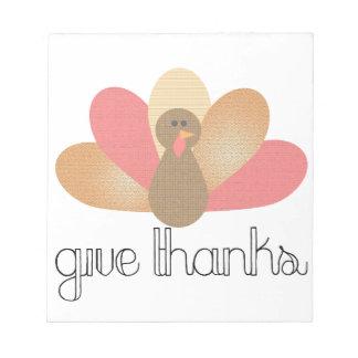 Bloc-note donnez la dinde de thanksgiving de mercis