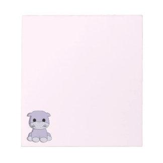 Bloc-note Enfants mignons de bande dessinée d'hippopotame de