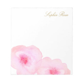 Bloc-note Fleur florale rose mignonne d'aquarelle