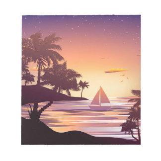 Bloc-note Île tropicale au coucher du soleil