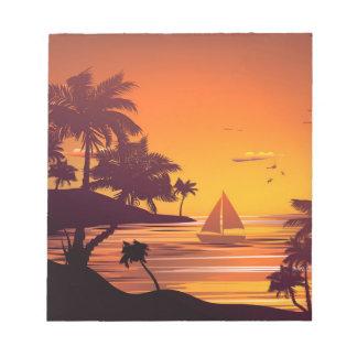 Bloc-note Île tropicale au coucher du soleil 2