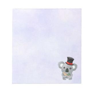 Bloc-note Koala mignon dans un casquette supérieur noir