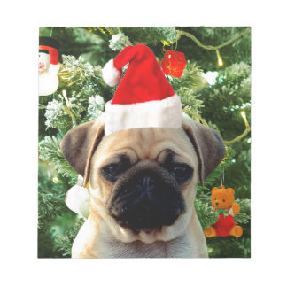 Bloc-note L'arbre de Noël de chiot de carlin ornemente le
