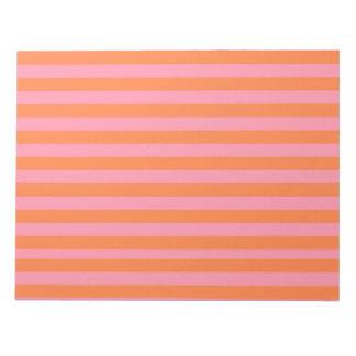 Bloc-note Le rose orange raye le bloc - notes d'humeur d'été