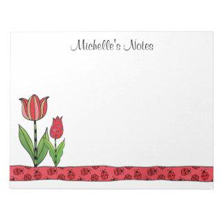 Bloc-note Les tulipes rouges ont personnalisé 11 x 8,5