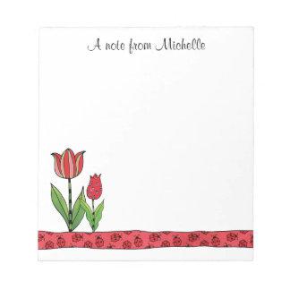 Bloc-note Les tulipes rouges ont personnalisé 5,5 x 6