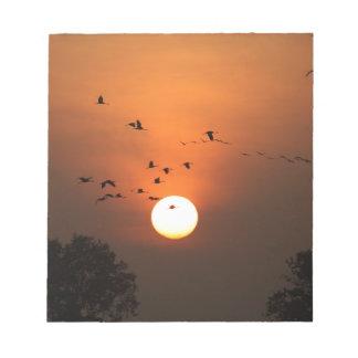 Bloc-note Lever de soleil avec des troupeaux des grues de