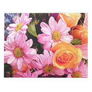 Bloc-note Marguerites roses et Roses_