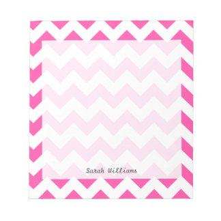 Bloc-note Motif blanc rose de Chevron de zigzag Girly