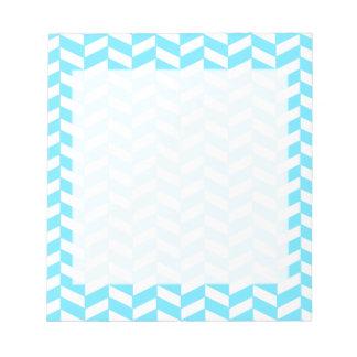 Bloc-note Motif bleu lumineux blanc en arête de poisson de