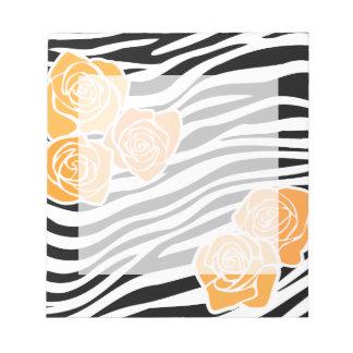 Bloc-note Motif de zèbre + bloc - notes orange de roses
